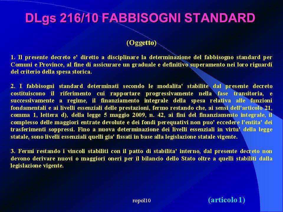 DLgs 216/10 FABBISOGNI STANDARD (articolo 1)