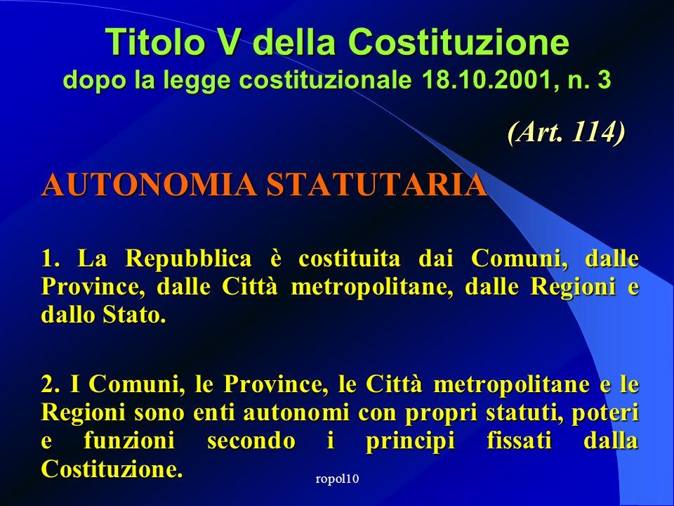 Titolo V della Costituzione dopo la legge costituzionale 18.10.2001, n. 3 AUTONOMIA STATUTARIA 1. La Repubblica è costituita dai Comuni, dalle Provinc