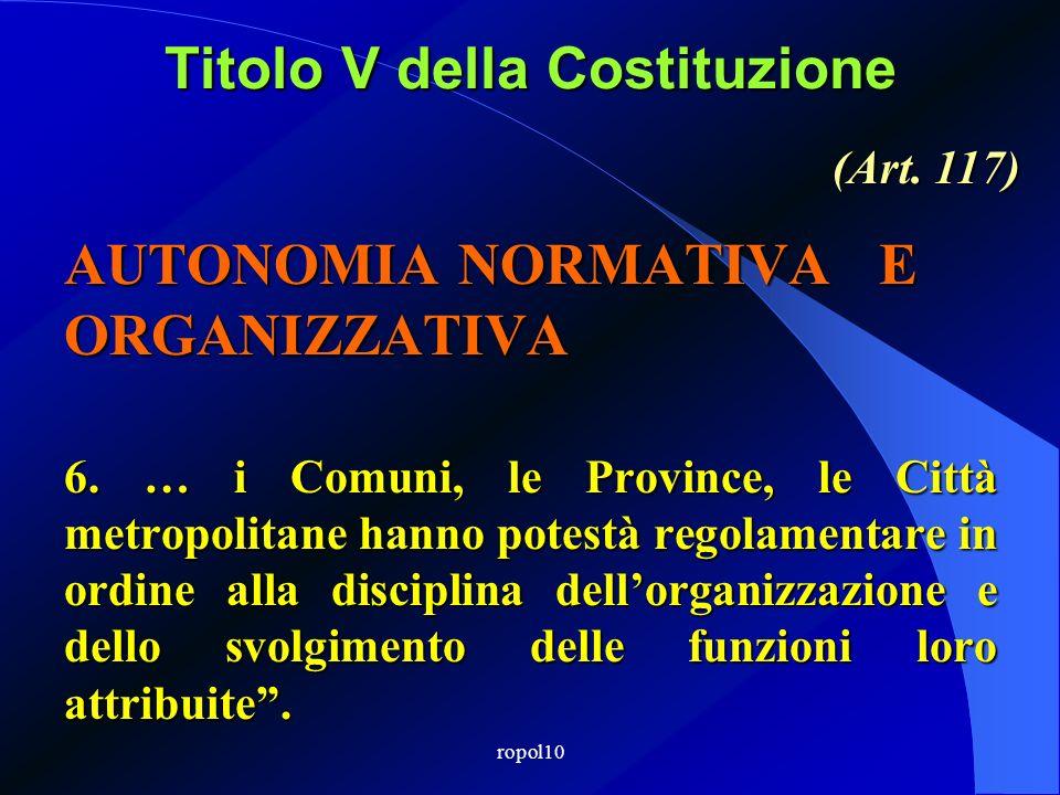 ropol10 Titolo V della Costituzione AUTONOMIA NORMATIVA E ORGANIZZATIVA 6.