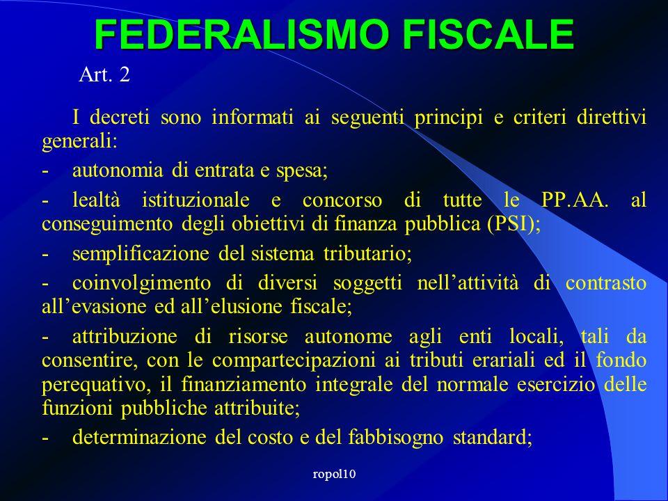 ropol10 FEDERALISMO FISCALE Art. 2 I decreti sono informati ai seguenti principi e criteri direttivi generali: -autonomia di entrata e spesa; -lealtà