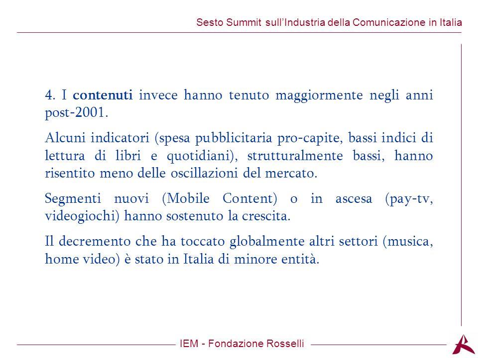 Titolo dellargomento IEM - Fondazione Rosselli Sesto Summit sullIndustria della Comunicazione in Italia 4.