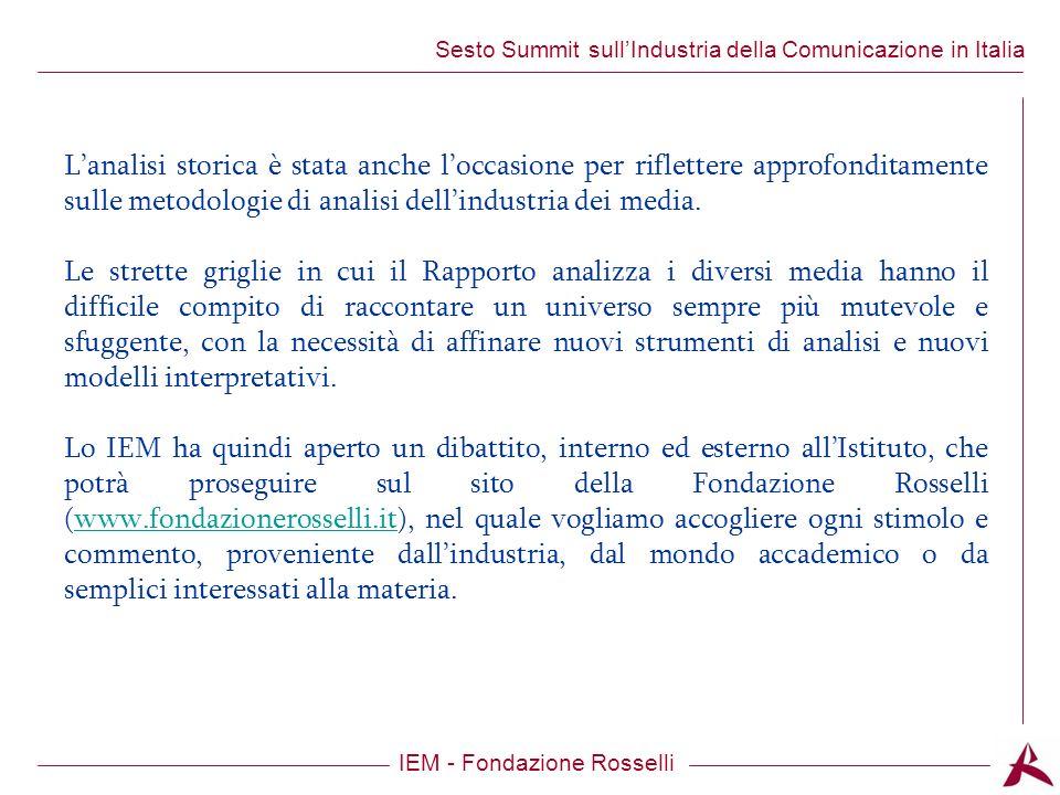 Titolo dellargomento IEM - Fondazione Rosselli Sesto Summit sullIndustria della Comunicazione in Italia Indice: - 4 punti di svolta nellindustria della comunicazione - Il valore del mercato - Global vs local - Comunicazione e PIL - ICT - Contenuti - Pubblicità - La crisi economica - I gusti del pubblico - Le sfide per lItalia