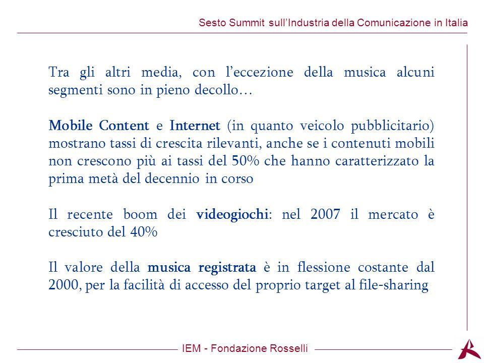 Titolo dellargomento IEM - Fondazione Rosselli Sesto Summit sullIndustria della Comunicazione in Italia Tra gli altri media, con leccezione della musica alcuni segmenti sono in pieno decollo… Mobile Content e Internet (in quanto veicolo pubblicitario) mostrano tassi di crescita rilevanti, anche se i contenuti mobili non crescono più ai tassi del 50% che hanno caratterizzato la prima metà del decennio in corso Il recente boom dei videogiochi: nel 2007 il mercato è cresciuto del 40% Il valore della musica registrata è in flessione costante dal 2000, per la facilità di accesso del proprio target al file-sharing