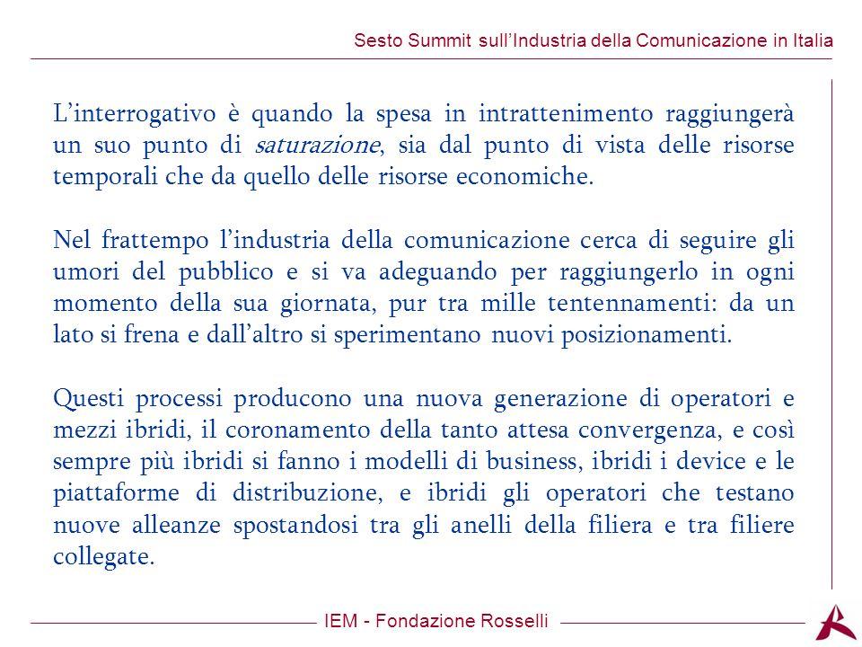 Titolo dellargomento IEM - Fondazione Rosselli Sesto Summit sullIndustria della Comunicazione in Italia Linterrogativo è quando la spesa in intrattenimento raggiungerà un suo punto di saturazione, sia dal punto di vista delle risorse temporali che da quello delle risorse economiche.