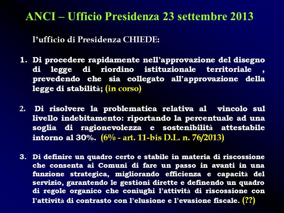 ANCI – Ufficio Presidenza 23 settembre 2013 - allentamento del Patto di Stabilit à, con onere a carico dello Stato, che lasci massima autonomia ai Com