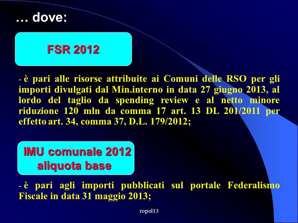 … ovvero: FSR 2012 FSR 2012 - + IMU comunale 2012 IMU comunale 2012 aliquota base Quota taglio Spending Review 2013 = Fondo solidarietà 2013 - IMU com