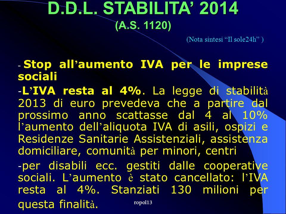 ropol13 D.D. LEGGE DI STABILITA 2014