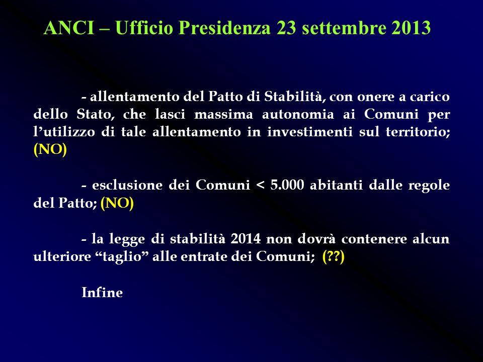ANCI – Ufficio Presidenza 23 settembre 2013 l avvio formale del tavolo di negoziazione per discutere i contenuti del D.L. previsto per met à ottobre c