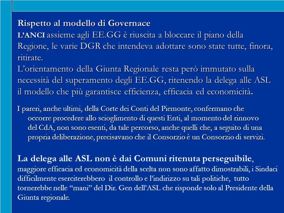 Rispetto al modello di Governace LANCI assieme agli EE.GG è riuscita a bloccare il piano della Regione, le varie DGR che intendeva adottare sono state tutte, finora, ritirate.