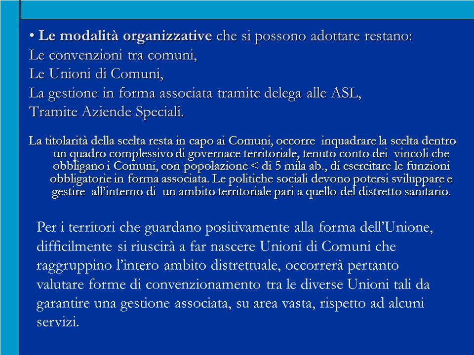 Le modalità organizzative che si possono adottare restano: Le convenzioni tra comuni, Le Unioni di Comuni, La gestione in forma associata tramite delega alle ASL, Tramite Aziende Speciali.