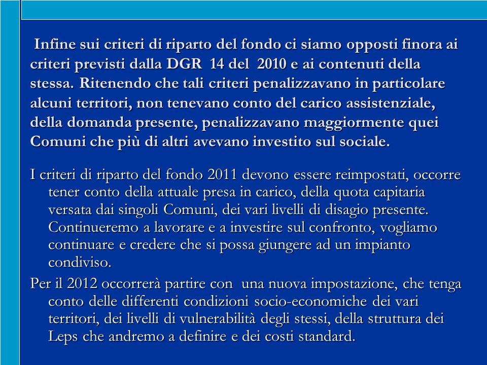 Infine sui criteri di riparto del fondo ci siamo opposti finora ai criteri previsti dalla DGR 14 del 2010 e ai contenuti della stessa.