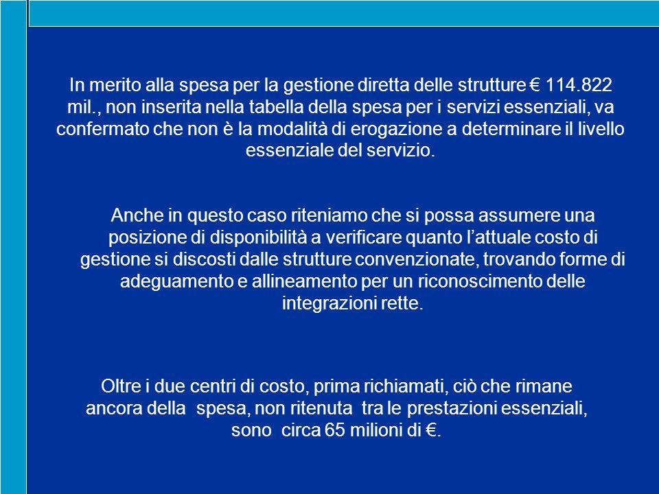 In merito alla spesa per la gestione diretta delle strutture 114.822 mil., non inserita nella tabella della spesa per i servizi essenziali, va confermato che non è la modalità di erogazione a determinare il livello essenziale del servizio.