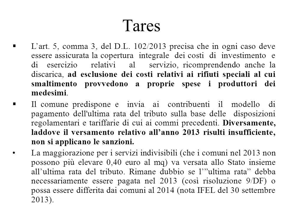Tares Lart. 5, comma 3, del D.L.