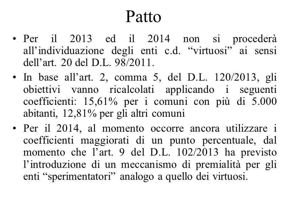 Patto Per il 2013 ed il 2014 non si procederà allindividuazione degli enti c.d.