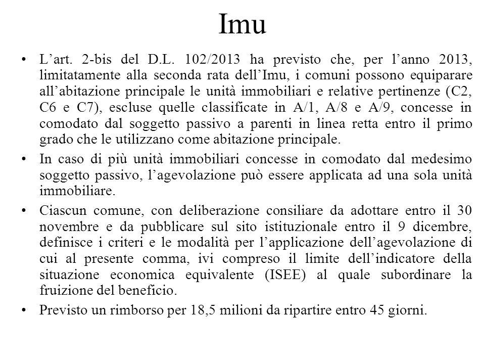 Imu Lart. 2-bis del D.L. 102/2013 ha previsto che, per lanno 2013, limitatamente alla seconda rata dellImu, i comuni possono equiparare allabitazione