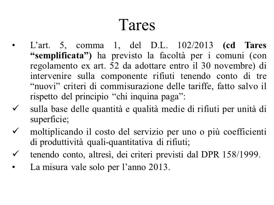 Tares Lart. 5, comma 1, del D.L.