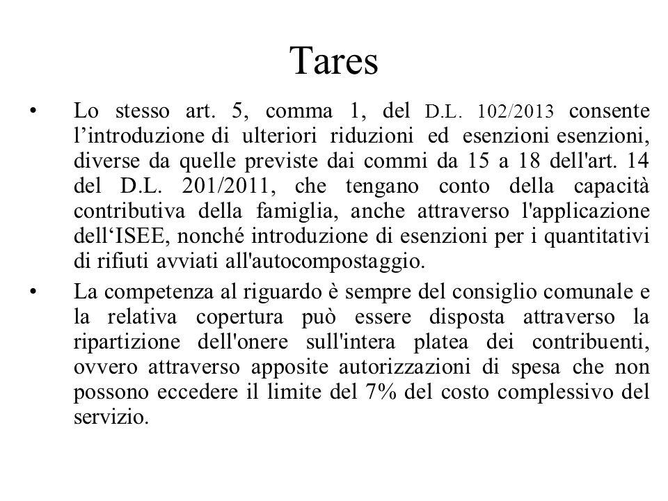 Tares Lo stesso art. 5, comma 1, del D.L.