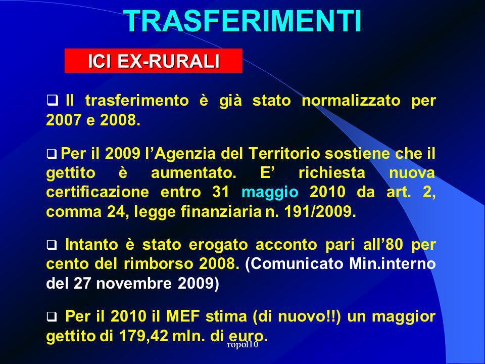 ropol10TRASFERIMENTI Il trasferimento è già stato normalizzato per 2007 e 2008.