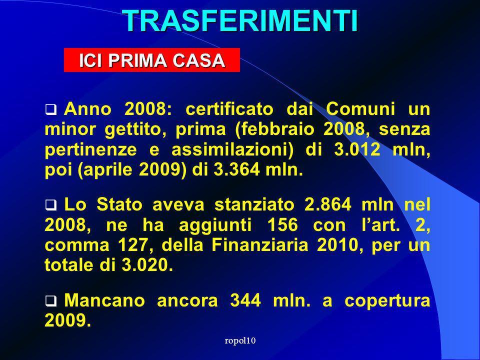 ropol10TRASFERIMENTI Anno 2008: certificato dai Comuni un minor gettito, prima (febbraio 2008, senza pertinenze e assimilazioni) di 3.012 mln, poi (aprile 2009) di 3.364 mln.