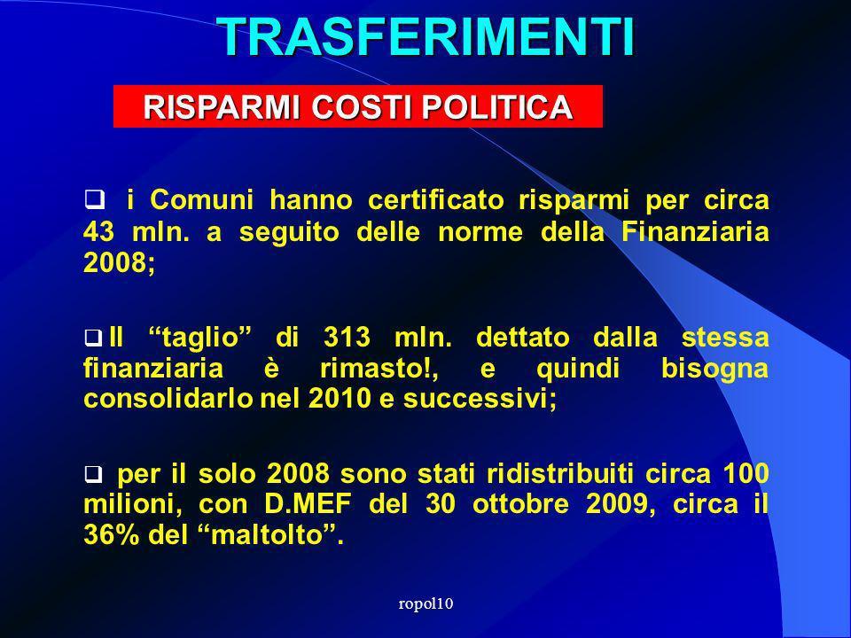 ropol10TRASFERIMENTI i Comuni hanno certificato risparmi per circa 43 mln.