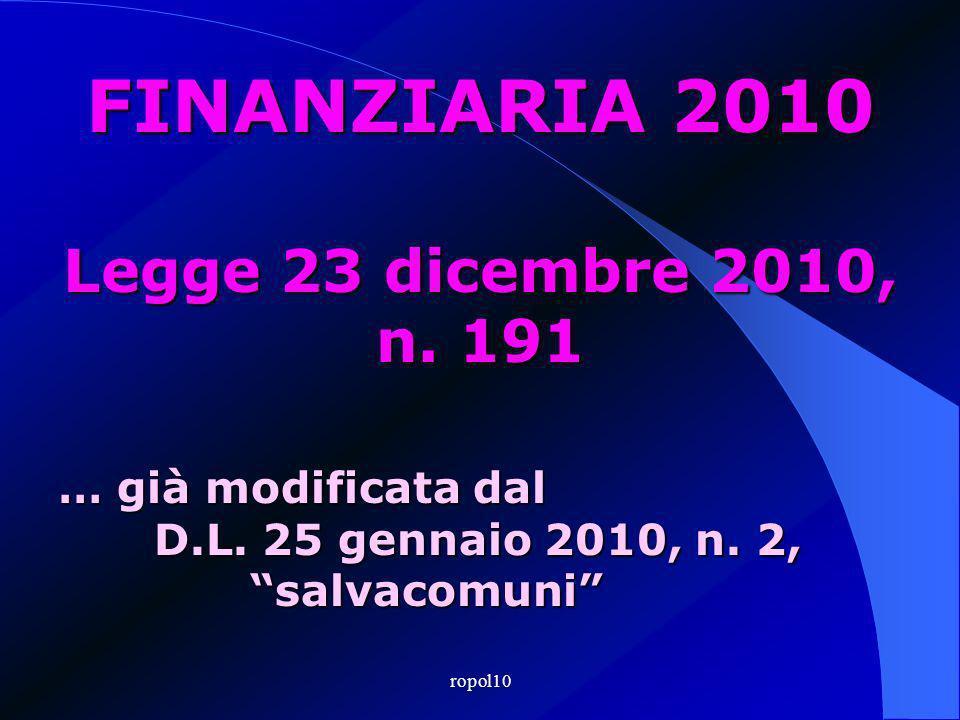 ropol10 FINANZIARIA 2010 Legge 23 dicembre 2010, n.