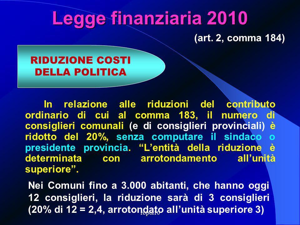 ropol10 Legge finanziaria 2010 In relazione alle riduzioni del contributo ordinario di cui al comma 183, il numero di consiglieri comunali (e di consiglieri provinciali) è ridotto del 20%, senza computare il sindaco o presidente provincia.