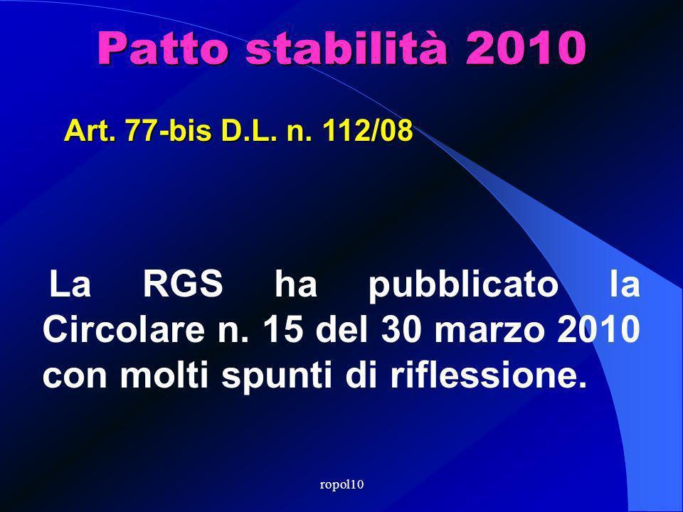 ropol10 Patto stabilità 2010 La RGS ha pubblicato la Circolare n.