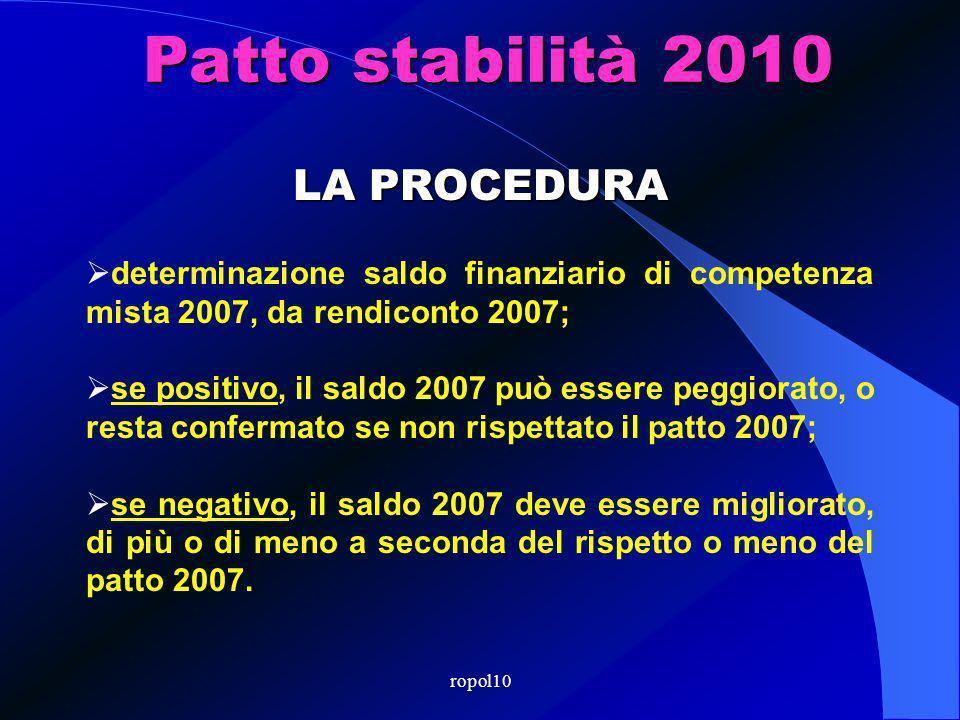 ropol10 Patto stabilità 2010 LA PROCEDURA determinazione saldo finanziario di competenza mista 2007, da rendiconto 2007; se positivo, il saldo 2007 può essere peggiorato, o resta confermato se non rispettato il patto 2007; se negativo, il saldo 2007 deve essere migliorato, di più o di meno a seconda del rispetto o meno del patto 2007.