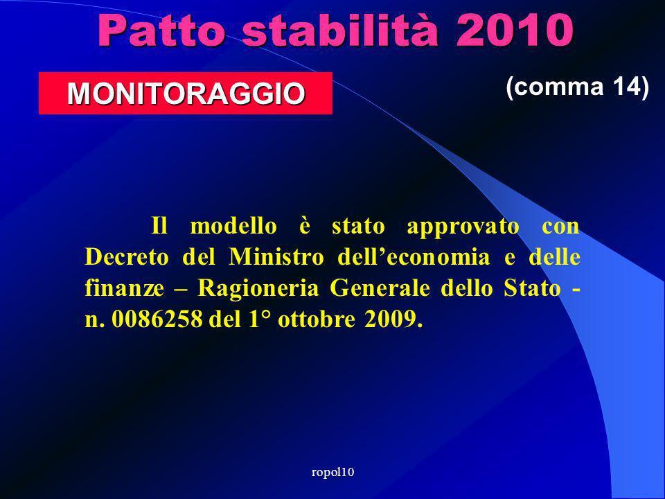 ropol10 Patto stabilità 2010 Il modello è stato approvato con Decreto del Ministro delleconomia e delle finanze – Ragioneria Generale dello Stato - n.