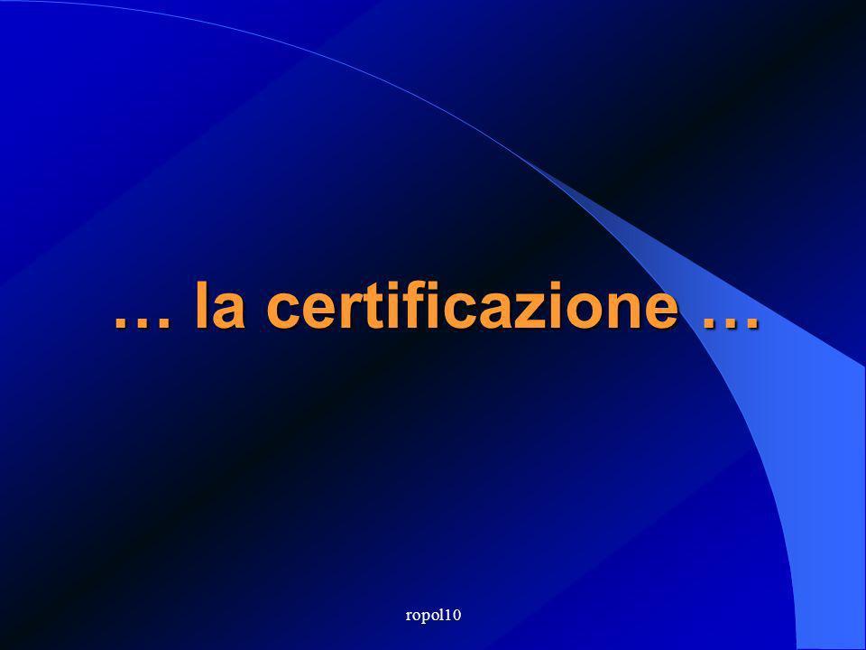 ropol10 … la certificazione …