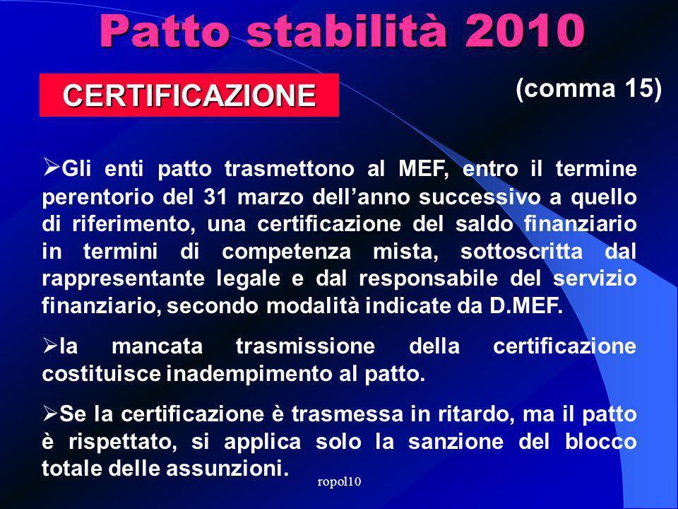 Patto stabilità 2010 Gli enti patto trasmettono al MEF, entro il termine perentorio del 31 marzo dellanno successivo a quello di riferimento, una certificazione del saldo finanziario in termini di competenza mista, sottoscritta dal rappresentante legale e dal responsabile del servizio finanziario, secondo modalità indicate da D.MEF.