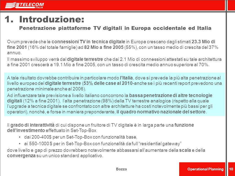 BozzaOperational Planning10 1.Introduzione: Penetrazione piattaforme TV digitali in Europa occidentale ed Italia Ovum prevede che le connessioni TV in