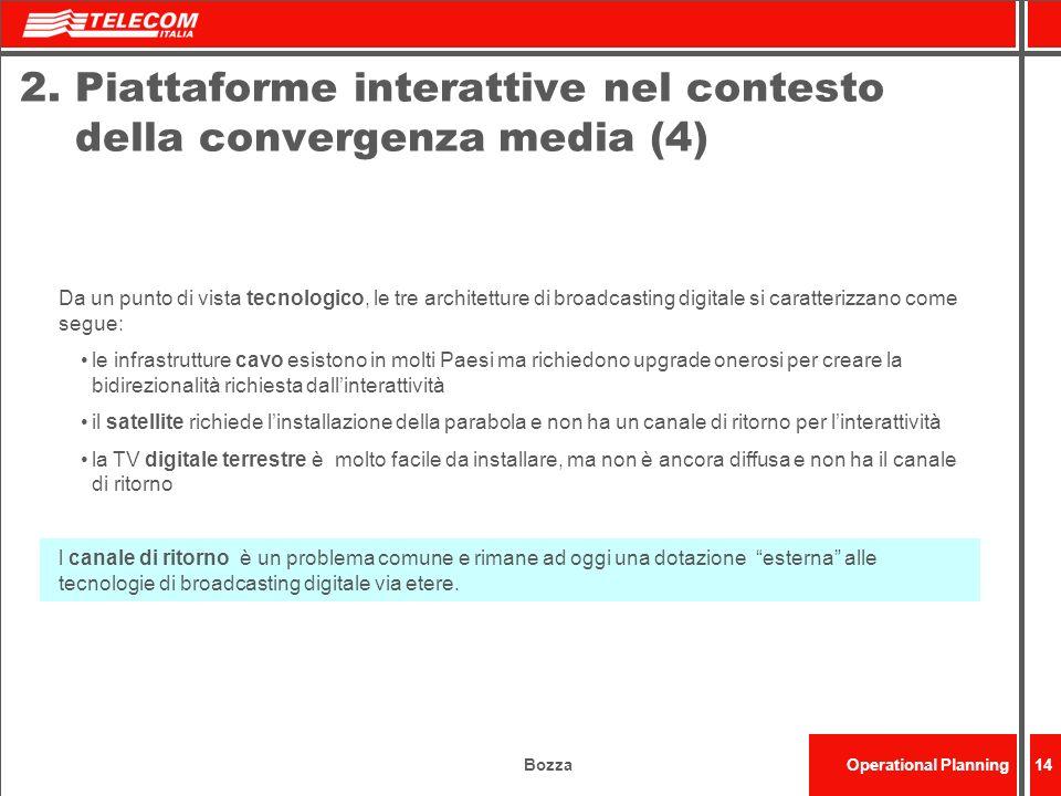 BozzaOperational Planning14 2. Piattaforme interattive nel contesto della convergenza media (4) Da un punto di vista tecnologico, le tre architetture