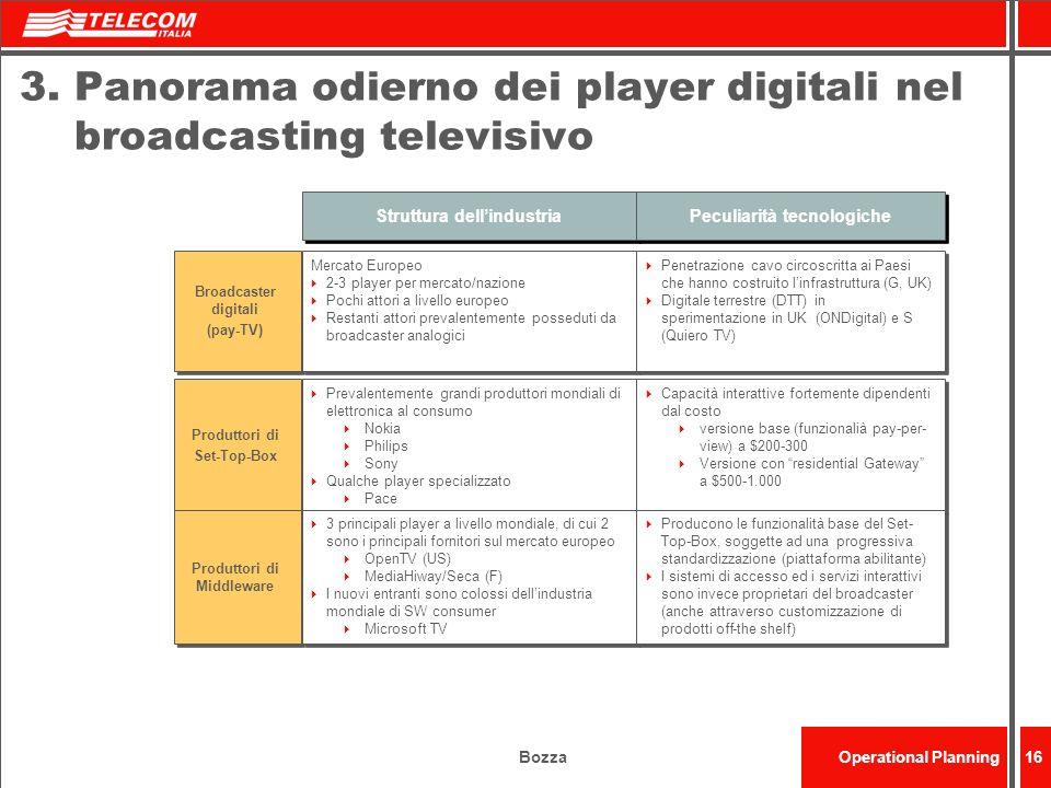 BozzaOperational Planning16 3. Panorama odierno dei player digitali nel broadcasting televisivo Struttura dellindustria Peculiarità tecnologiche Broad