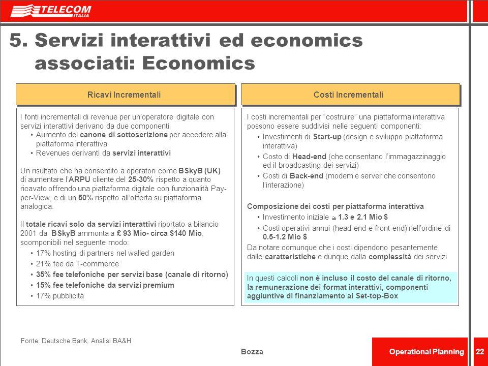 BozzaOperational Planning22 5. Servizi interattivi ed economics associati: Economics Fonte: Deutsche Bank, Analisi BA&H I fonti incrementali di revenu