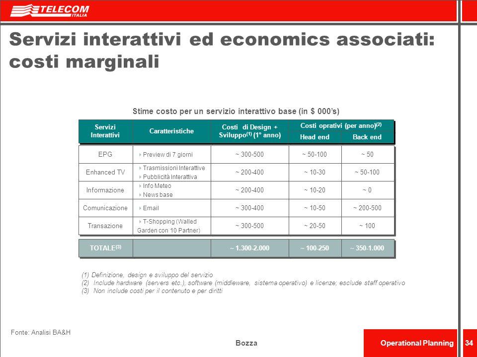 BozzaOperational Planning34 Servizi interattivi ed economics associati: costi marginali Stime costo per un servizio interattivo base (in $ 000s) Servi