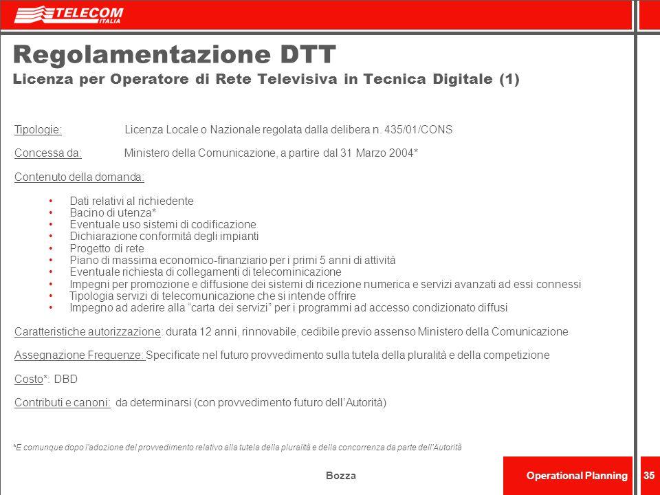 BozzaOperational Planning35 Regolamentazione DTT Licenza per Operatore di Rete Televisiva in Tecnica Digitale (1) Tipologie: Licenza Locale o Nazional