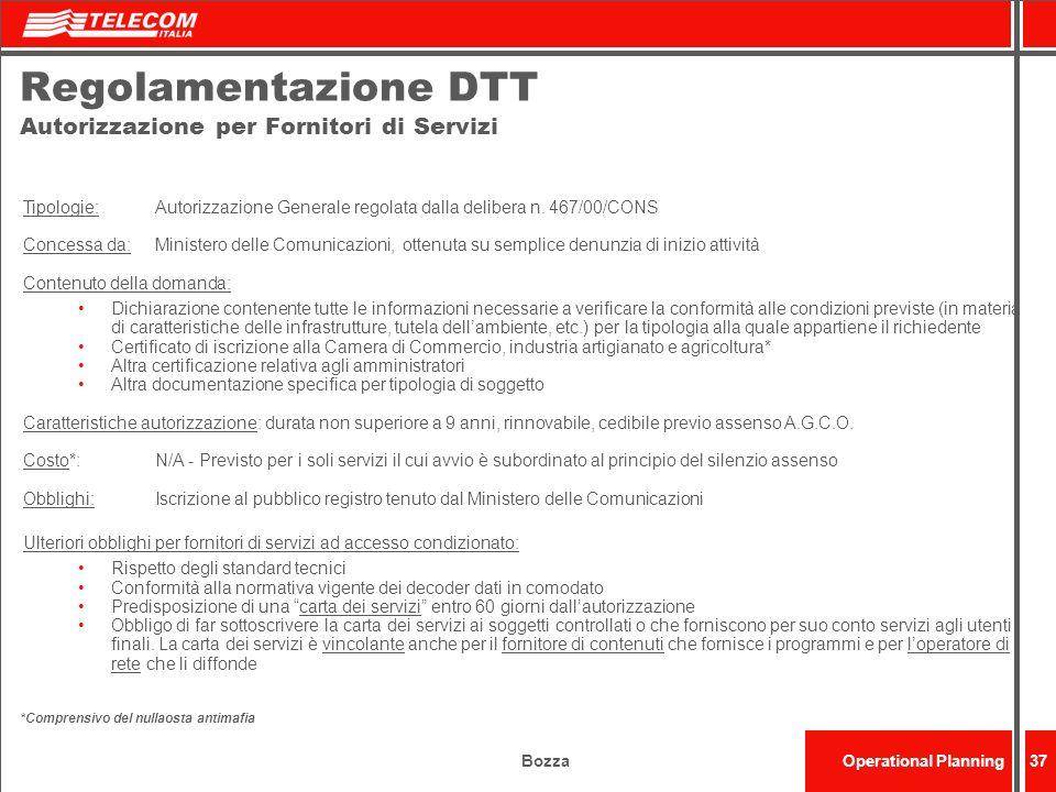 BozzaOperational Planning37 Regolamentazione DTT Autorizzazione per Fornitori di Servizi Tipologie: Autorizzazione Generale regolata dalla delibera n.