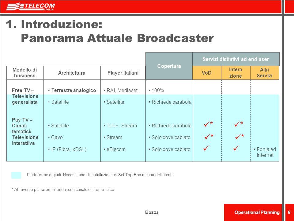 BozzaOperational Planning6 1.Introduzione: Panorama Attuale Broadcaster Free TV – Televisione generalista Pay TV – Canali tematici/ Televisione intera