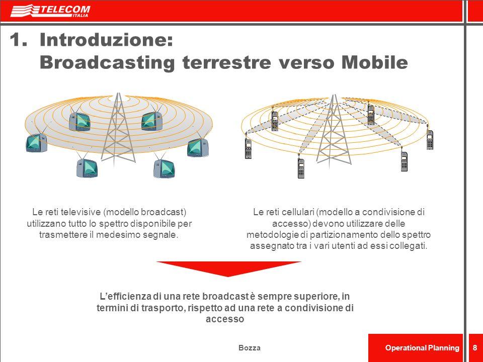BozzaOperational Planning8 1.Introduzione: Broadcasting terrestre verso Mobile Le reti televisive (modello broadcast) utilizzano tutto lo spettro disp