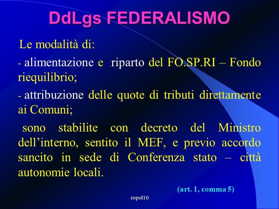 ropol10 DdLgs FEDERALISMO Il FO.SP.RI – Fondo riequilibrio: - dura per tre anni, dal 2011 al 2013; - cessa, in ogni caso, con lattivazione del Fondo P