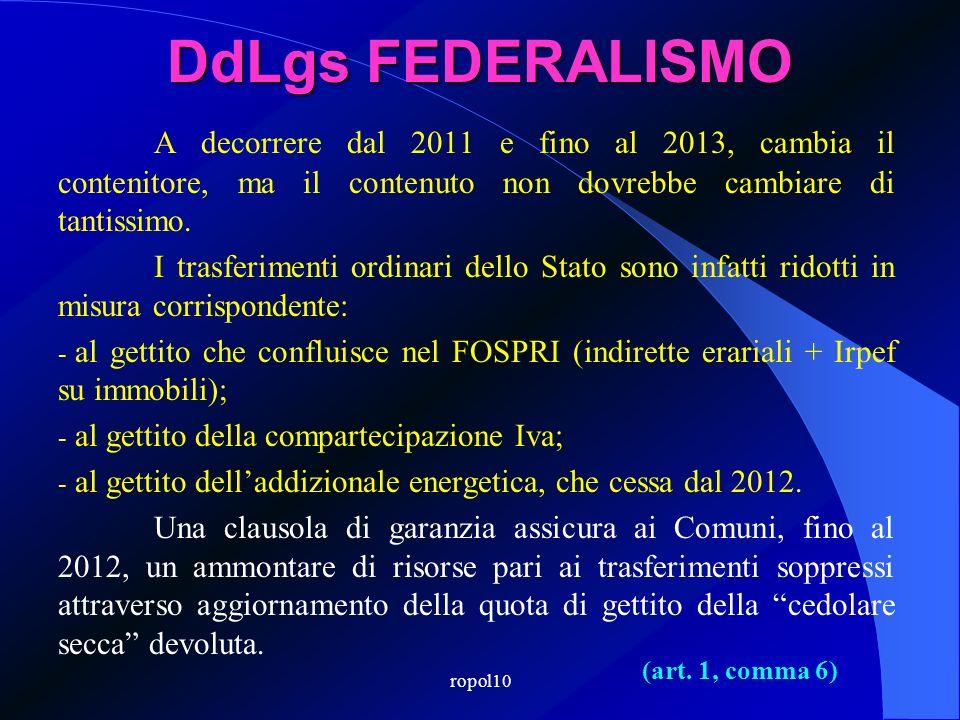 ropol10 DdLgs FEDERALISMO Dal 2012 è abolita laddizionale energetica di cui allart. 6 del DL n. 511/1988. (art. 1, comma 4-bis)