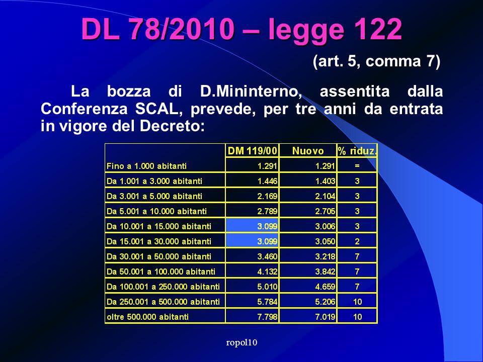 ropol10 DL 78/2010 – legge 122 Il Mininterno diminuisce, con decreto entro 28 settembre 2010, per almeno tre anni, le indennità di cui al DM 119/2000: