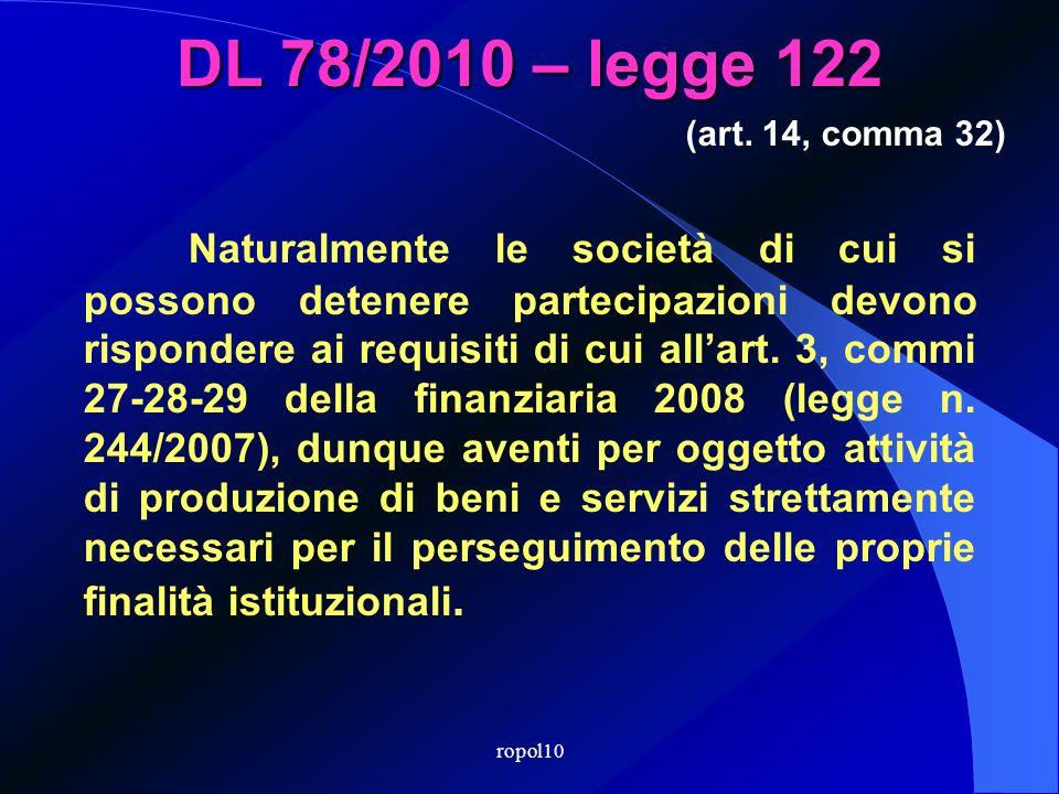 DL 78/2010 – legge 122 I Comuni con popolazione < 30.000 abitanti non possono costituire società. Se già ne detengono, devono porle in liquidazione, o