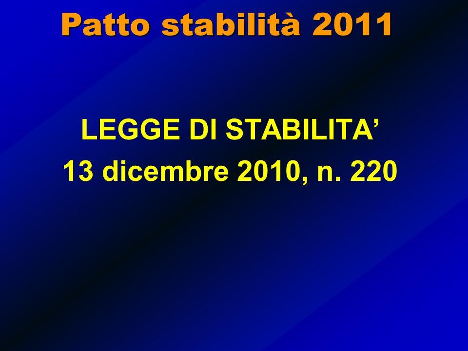 PATTO DI STABILITA 2011