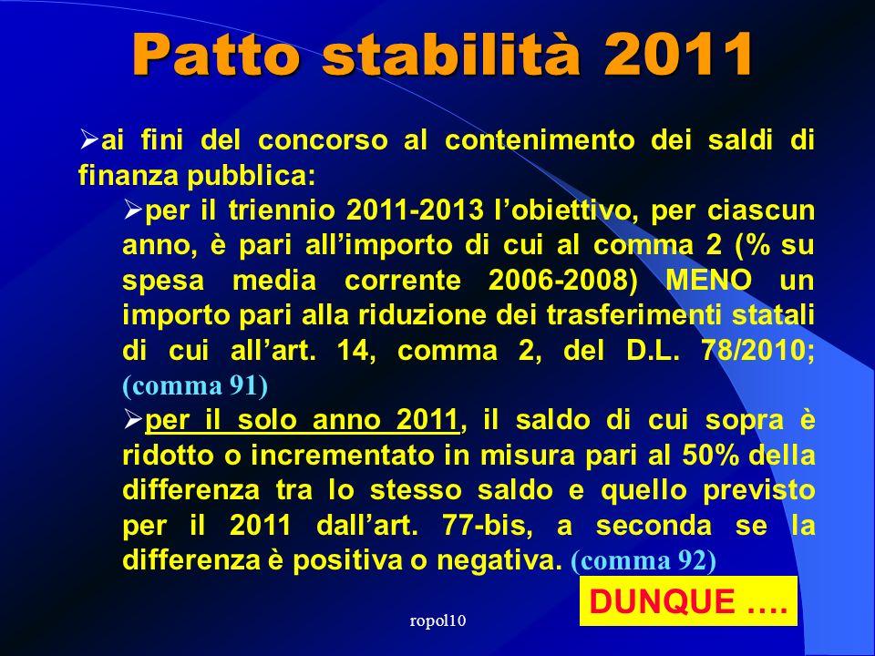 ropol10 Patto stabilità 2011 LA PROCEDURA dal 2011 il saldo finanziario strutturale di competenza mista è pari a ZERO; (comma 90) lobiettivo specifico