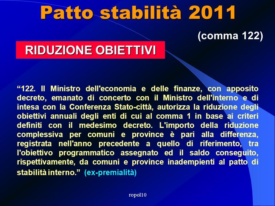 Patto stabilità 2011 In caso di mancato rispetto del patto: i contributi ordinari dovuti dal Mininterno sono ridotti in misura pari alla differenza tr