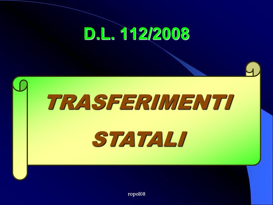 D.L. 112/2008 TRASFERIMENTISTATALI