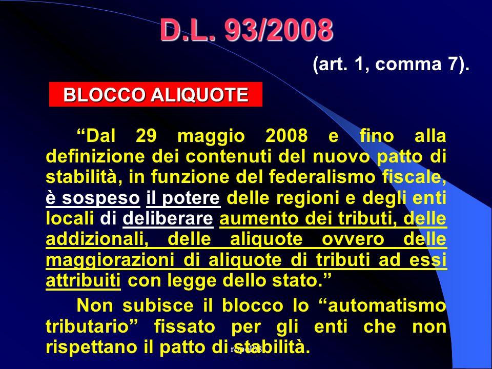 ropol08 D.L.112/2008 La sospensione dellart. 1, comma 7, del DL n.