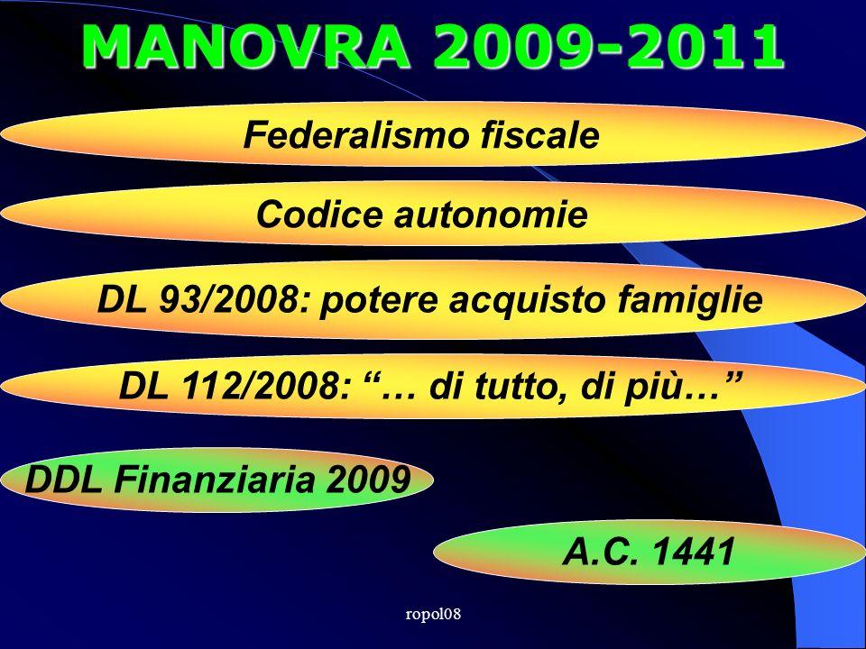 ropol08 MANOVRA 2009-2011 Federalismo fiscale Codice autonomie DL 93/2008: potere acquisto famiglie DL 112/2008: … di tutto, di più… DDL Finanziaria 2009 A.C.